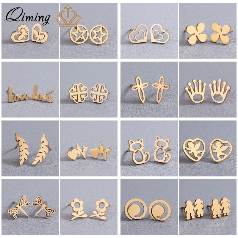 Multiple Stainless Steel Cute Gold Women's Earrings Love Heart Letter Cute Minimalist Jewelry Girls Birthday Gift Stud Earring