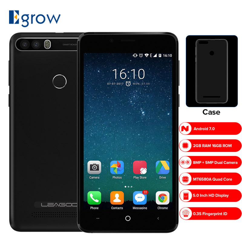 LEAGOO KIICAA POWER Dual-kamera Handy Android 7.0 4000 mAh 5,0 Zoll MT6580A Quad Core 2 GB RAM 16 GB Fingerprint Smartphone