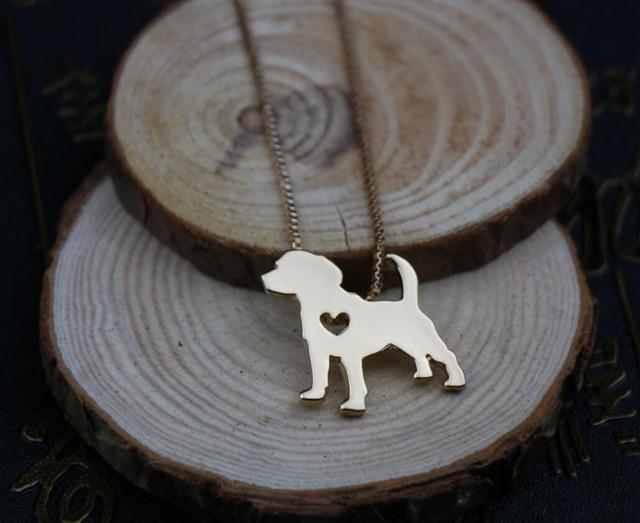 Купить ожерелье с изображением собаки бигля украшение золотым покрытием картинки
