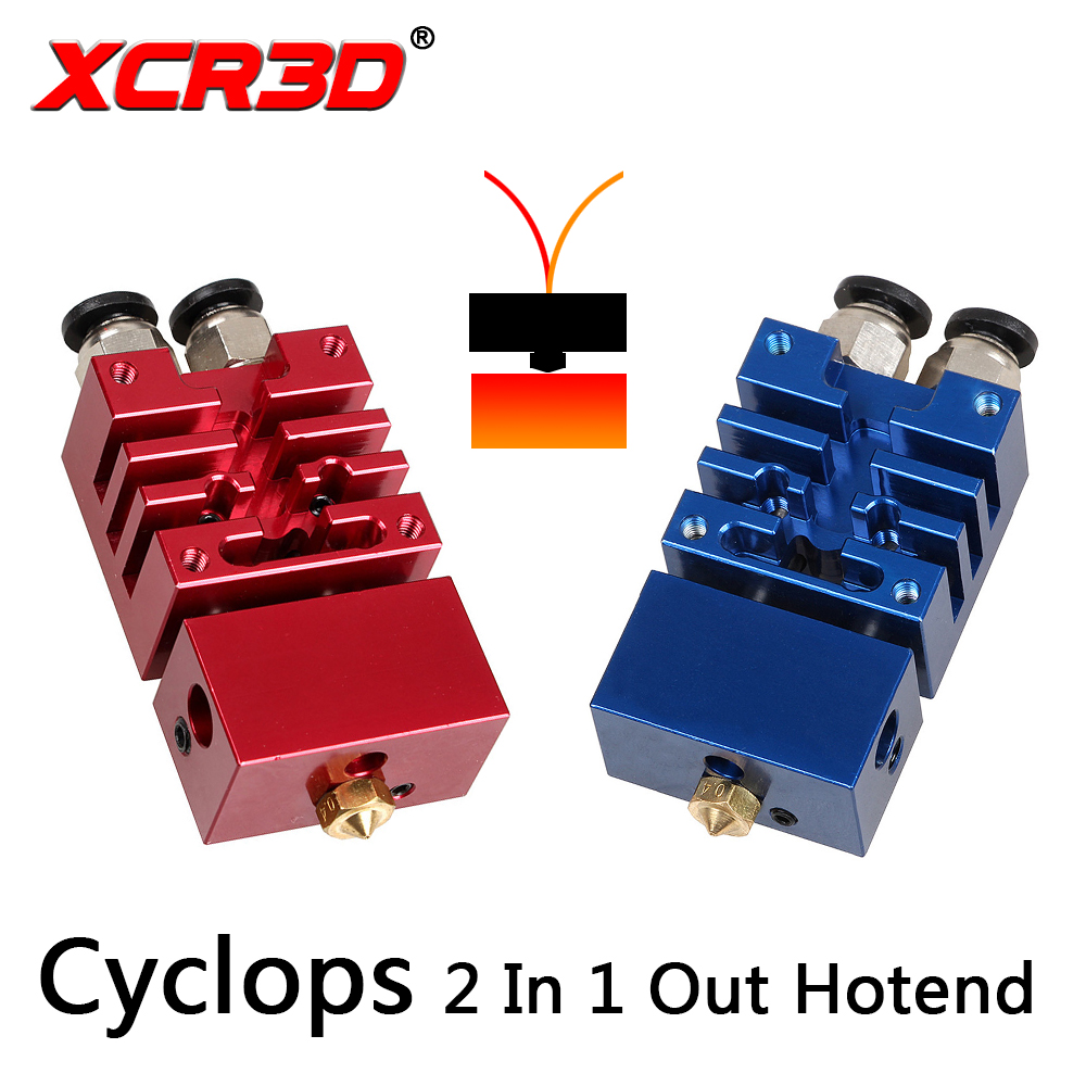 XCR3D Improved Version Cyclops 2 In 1 Out Hotend Dual Color Switching Hotend Kit 0.4mm/1.75mm Nozzle for 3D Printer Parts цена 2017
