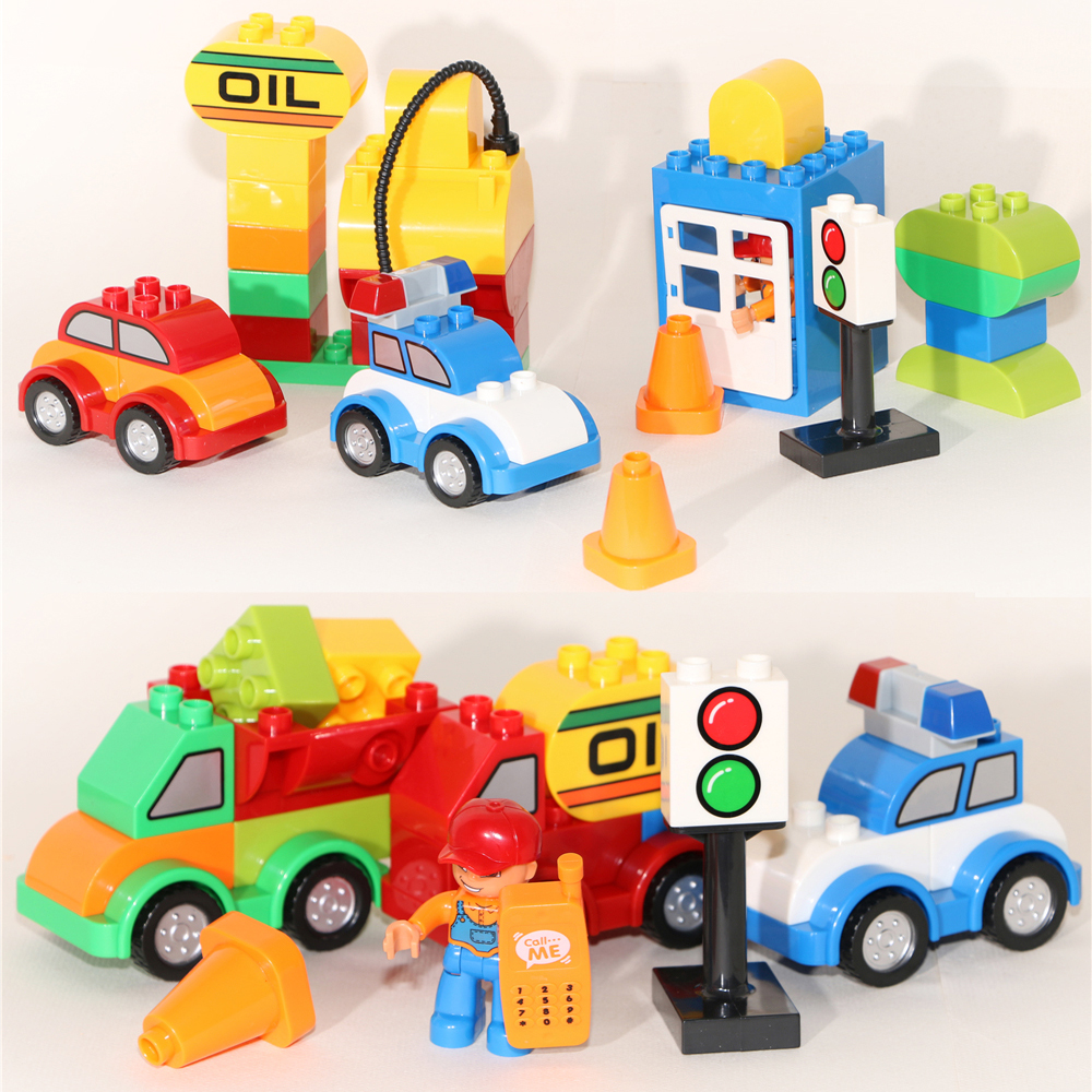 Huimei brand 52pcs varied bricks set car gas station truck crane building blocks kids toy worker