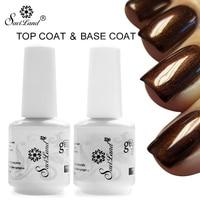 Saviland 2pcs 15ML No Wipe Top Coat Base Coat Long Lasting Bling Soak Off Varnish Manicure