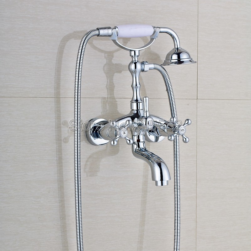 Bathroom Polished Chrome Brass Wall Mounted Bathtub Faucet Dual Cross Handle Shower Mixer Tap with Handheld Shower Spray ltf931