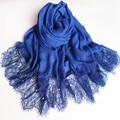 Высокое качество чистый цвет кружева из бисера популярные великолепный платок шелковый шарф Мусульманский хиджаб шарф 1 шт. Бесплатная Доставка независимость упаковку