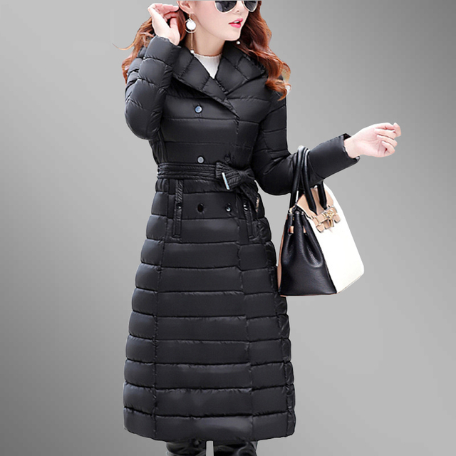 Best Price Women Parkas 2018 New Winter Thicken Hooded Coat Warm Long Female Plus Size Fit Cotton Wadded Basic Jacket Mujer Invierno P03