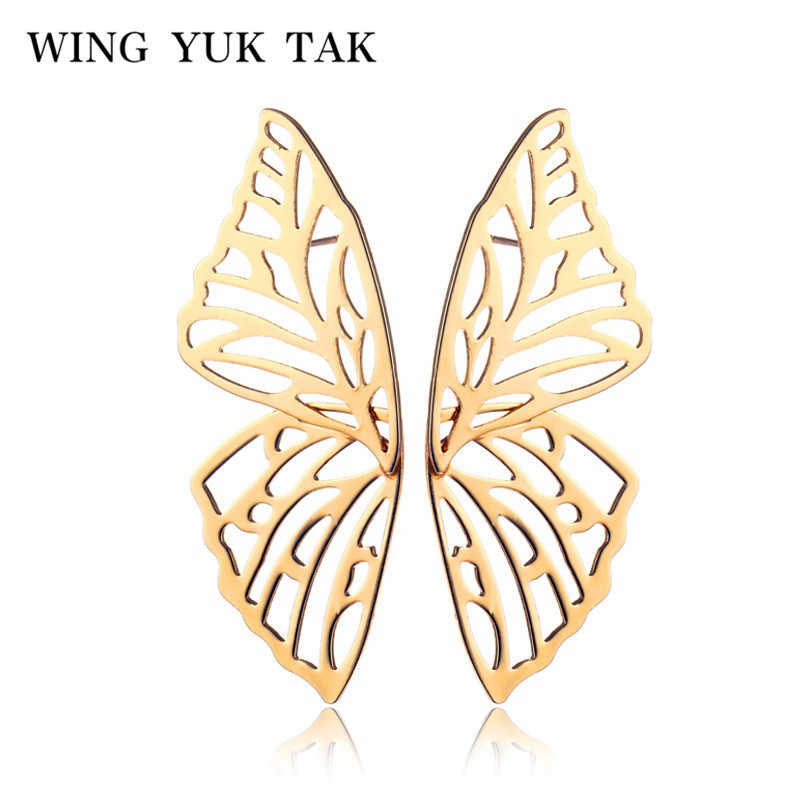 wing yuk tak Simple Gold Color Butterfly Earrings For Women Classic Korean Insect Big Earings Wedding Party Jewelry