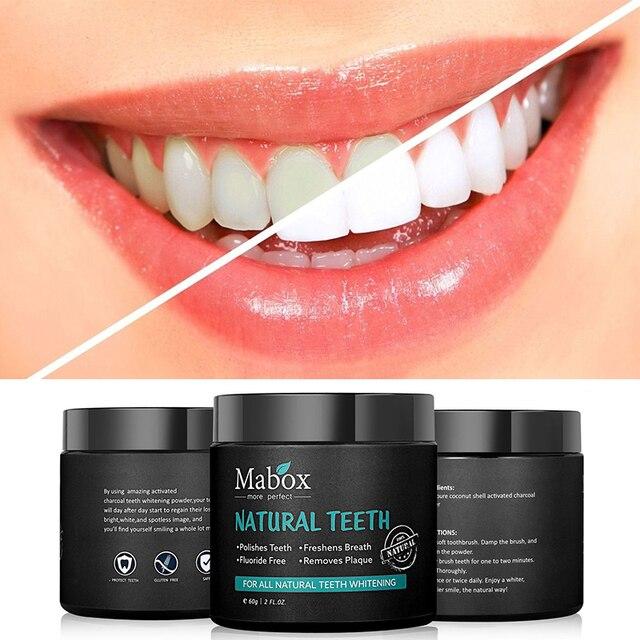 MABOXTeeth blanqueamiento de cuidado bucal polvo de carbón Natural activado carbón dientes blanqueador en polvo higiene bucal limpiar el aliento
