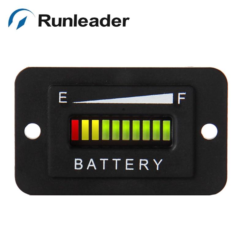 Free shipping 10 Bar LED RL BI003 12 24V font b Battery b font Indicator meter