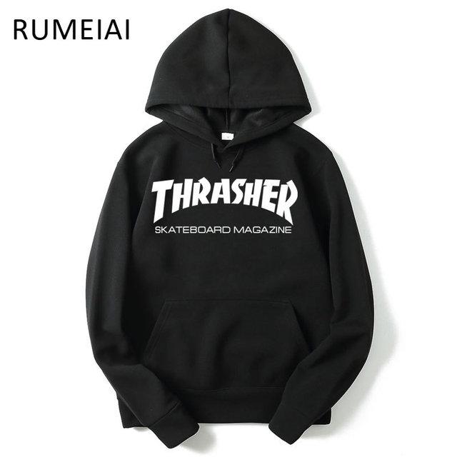 RUMEIA New High Quality Mens Thrasher Sweatshirt Hoodies trasher Skateboards Hoodie Male Cotton Sweat Thrasher Sweatshirt Hoodie