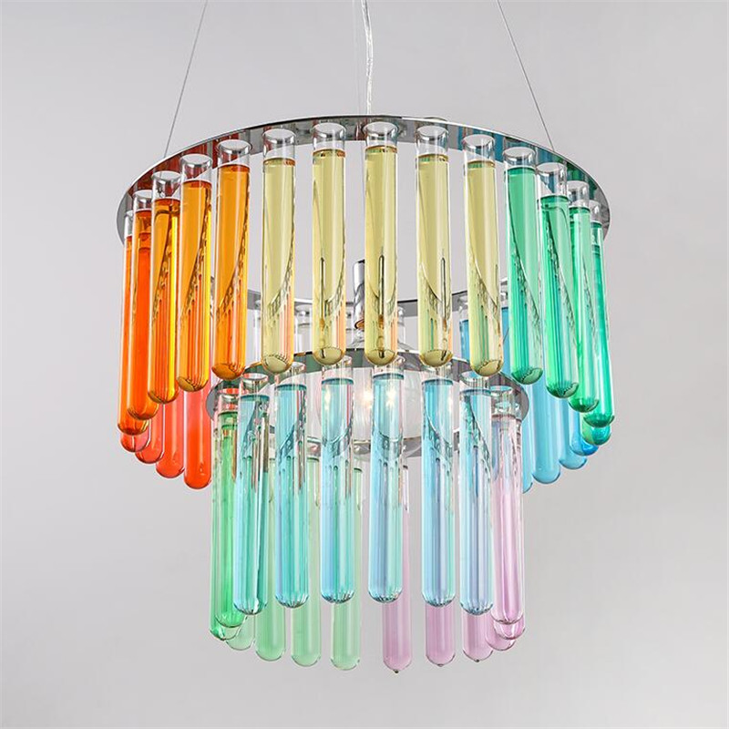 Modern Fashion Novel Creative Glass Tube Design Led E27 Pendant Light for Restaurant Dining Room Bar Lamps AC80-265V 1514