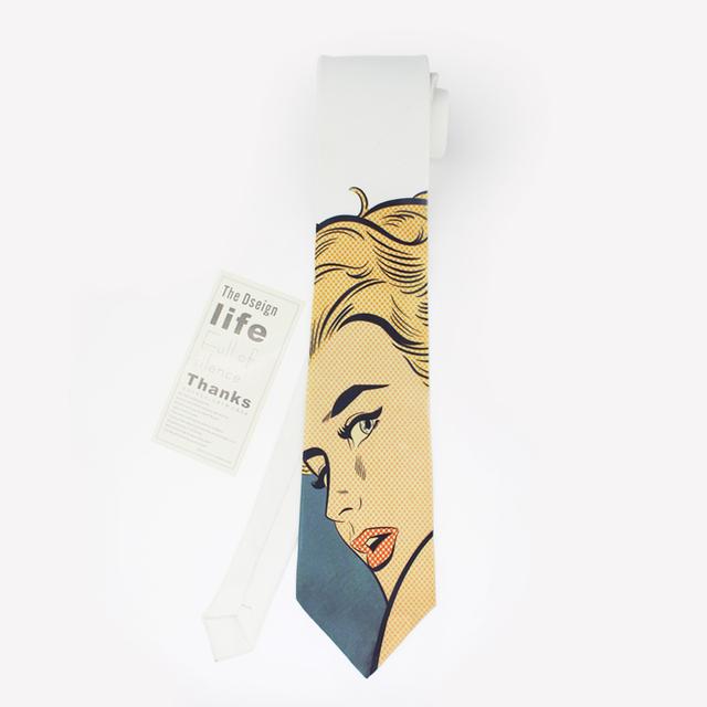 2016 nueva modern imprimir ocio corbatas hombre boda del novio corbata moda kravat masculino diseñador de mariage pintura al óleo corbata slim