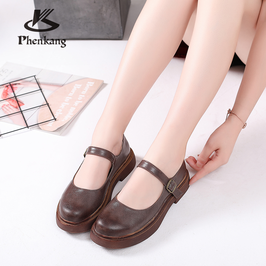 Véritable Main Brun La Vintage D'été Appartements Dame other 100 À En Sandales Pour Femmes Colors Casual Chaussures Vache Brown Oxford Cuir dawvxpPBq