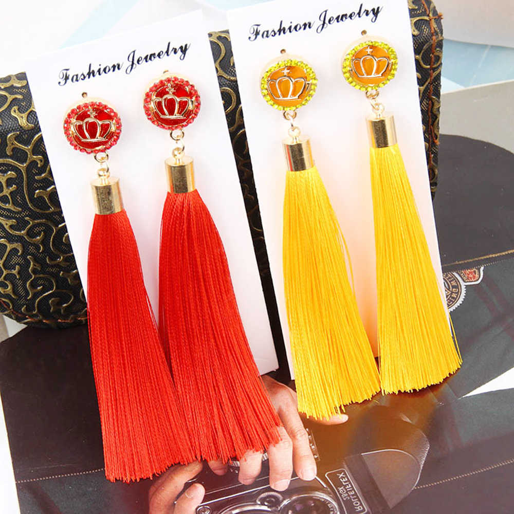 Vintage Tassel Earrings for Women Big Fringe Earings Fashion Jewelry Female Korean Bohemian Hanging Drop Earrings Oorbellen Gift