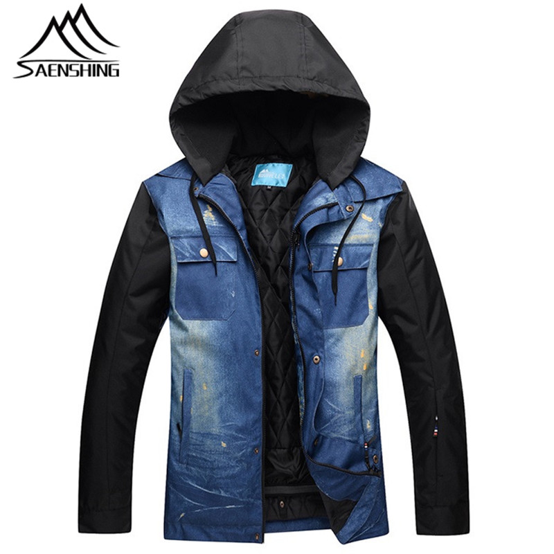 SAENSHING Ski Jacket Men 2017 Snowboard Jacket Winter Waterproof Thicken Snow Jackets Outdoor Sport Warm Denim Cloth Jackets XXL 2017 winter jacket men size m xxl high quality thicken men parka jacket zipper fashion short men bomber jacket page 7