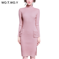 WOTWOY Knitted Sweater Dress Women 2017 Autumn Winter Elegant Pencil Bodycon Turtleneck Dress Long Sleeve Women