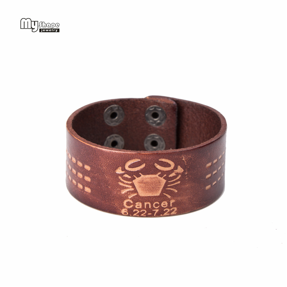 My Shape Cheap Man Leather Bracelets Pave Twelve Constellat Of Cancer Bangles Jewelry Cuff Bracelet Woman Gift