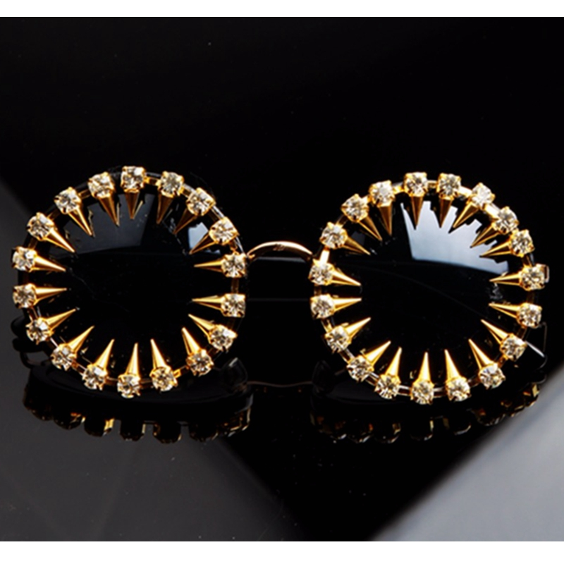 Sunglasses Cool Steampunk Rhinestone Unique-Style Mens Designer Fashion UV400 Round Women