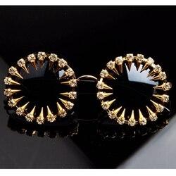 2018 Mens designer sunglasses Cool Fashion rivet steampunk Sun glasses Rhinestone Round Women Sunglasses Unique Style UV400