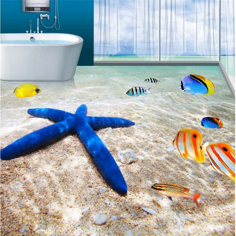 beibehang Wallpaper Wall Painting Ocean Beach Starfish Tropical Fish Bathroom 3D Floor Tile papel de parede 3d para sala atac