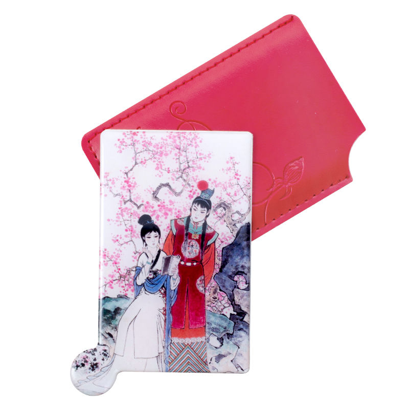 Girls Women Coach Pocket Travel Mini Stainless Steel Makeup Mirror with Leather Case Rectangle One Side Special Gifts