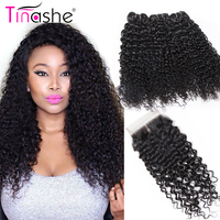 Tinashe Hair Curly Human Hair Bundles With Closure Remy Human Hair Extension 3 Bundles Brazilian Hair