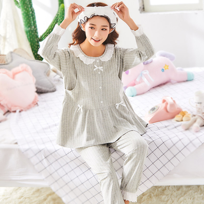 Maternity Pajamas Nursing Sleepwear Pregnancy Clothes Striped Cotton Soft Maternity Clothes breastfeeding Pajamas Homewear A196 summer maternity pajamas nursing suits cotton breastfeeding clothes nursing suits pajamas maternity clothes pijama maternidad