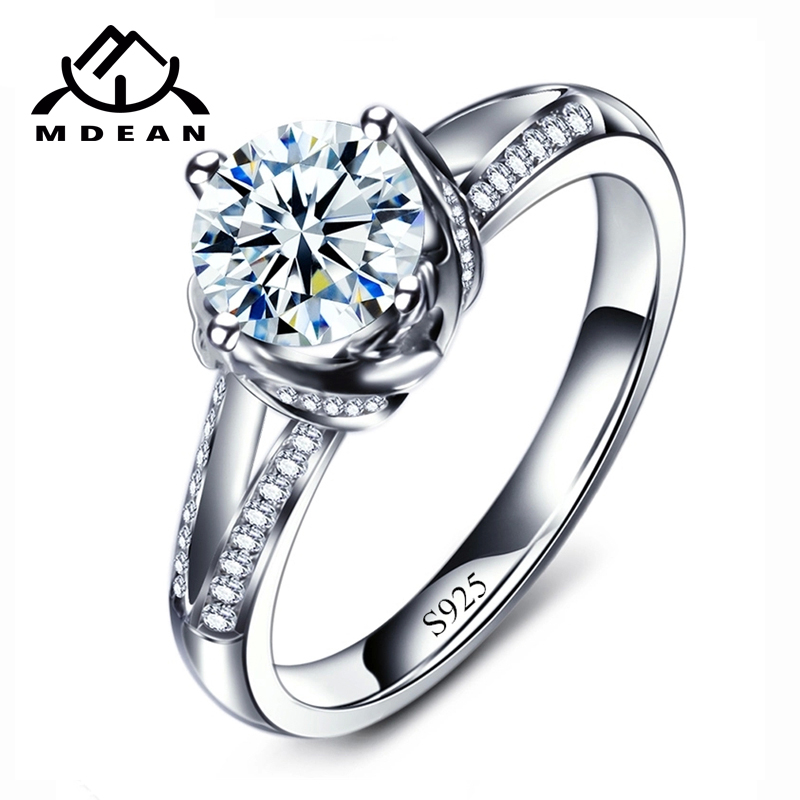 Wedding Day Insurance: MDEAN White Gold Color Engagement Rings For Women AAA