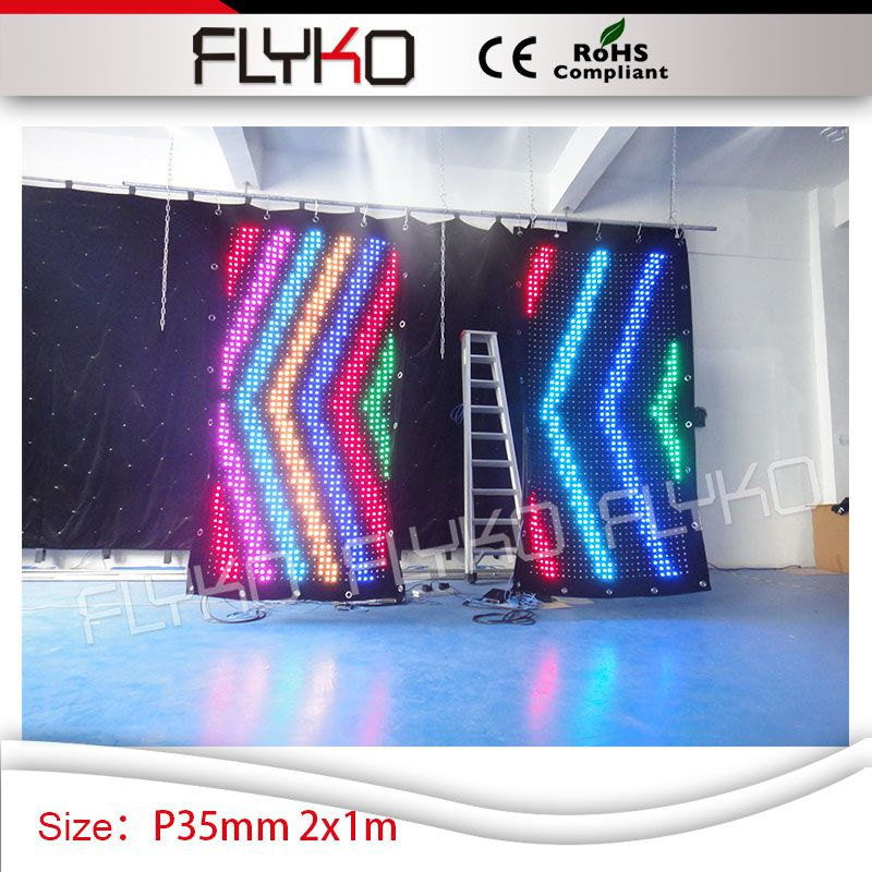 club bar cafe shop decoration P3.5cm colorful RGB full color 2m high*1m width fireproof stage video curtain led screen