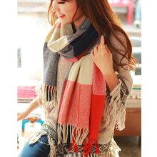 190*50cm Autumn Winter Female Wool Plaid Scarf Women Cashmere Scarves Wide Lattice Long Shawl Wrap Blanket Warm Tippet Drop Ship(China)