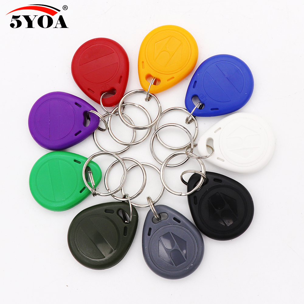 10pcs T5577 EM4305 Duplicator Clone Copy 125khz RFID Tag Porta Chave Card Sticker Key Fob Token Ring Proximity Duplicate