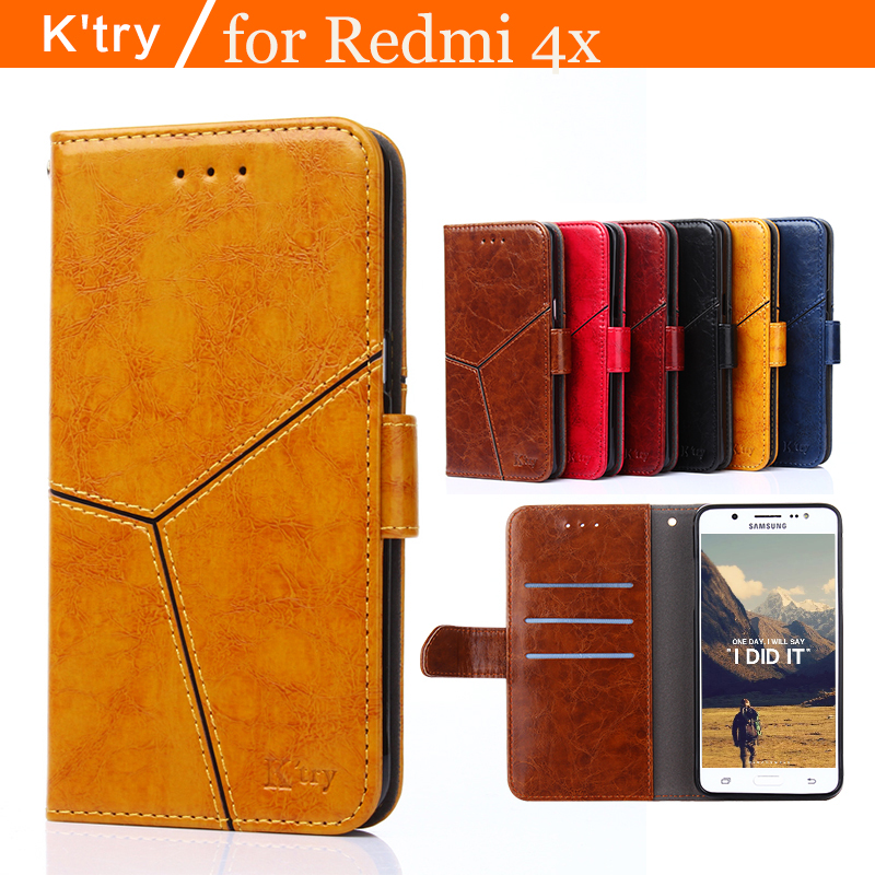 K Try Case For Xiaomi Redmi 4X Case Book Flip Style High Quality Mobile Phone Case