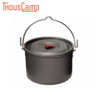 Outdoor Big Capacity 5L/6.5L Aluminum Camping Hanging Cookware For 4 6 Person Tableware Picnic For Campfire Pot Utensils