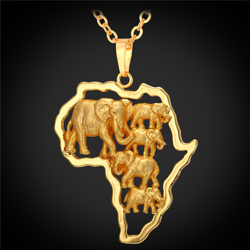 Hot Yellow Gold Color African Map Jewelry Lucky Men/Women Ethnic Africa Elephant/Lion/Antelope Animal Pendant Necklace P1924