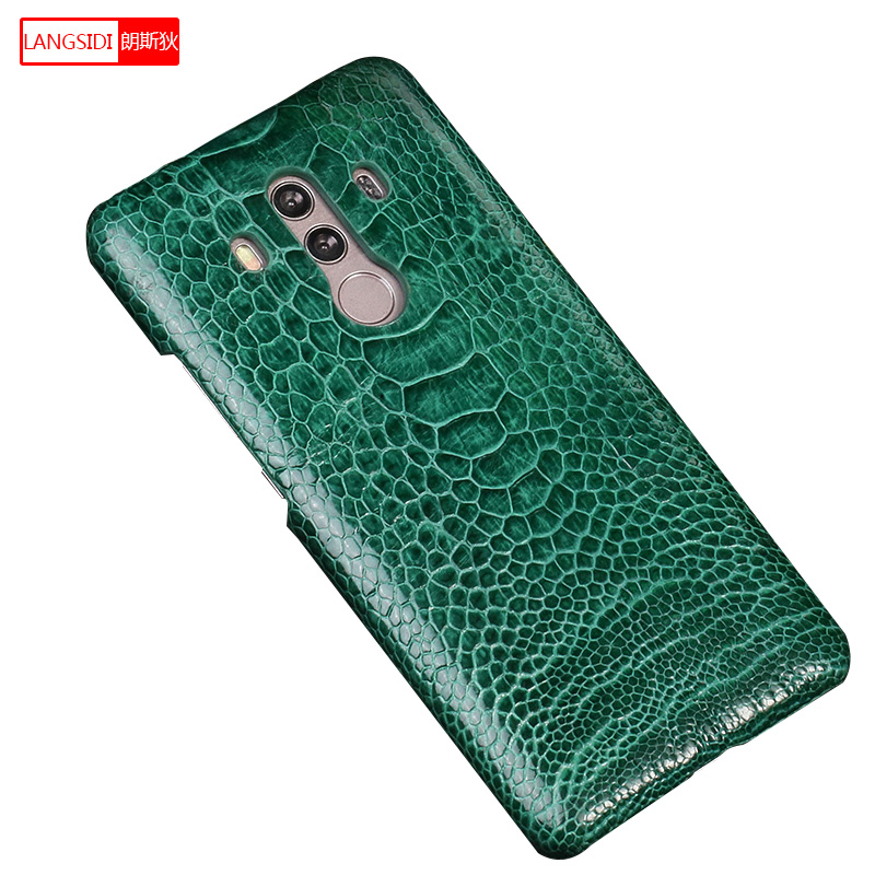 Coque de téléphone pour Honor 10 autruche naturelle en cuir véritable anti-chocs Capa couverture arrière pour Huawei Nova 3 Mate RS Honor 10 lite P10