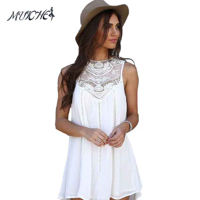 b93364f7deb MUICHES Summer Dresses 2017 Mini Sleeveless Casual Lace Dresses for Woman  Fit Beach Sexy Short White Women Dress