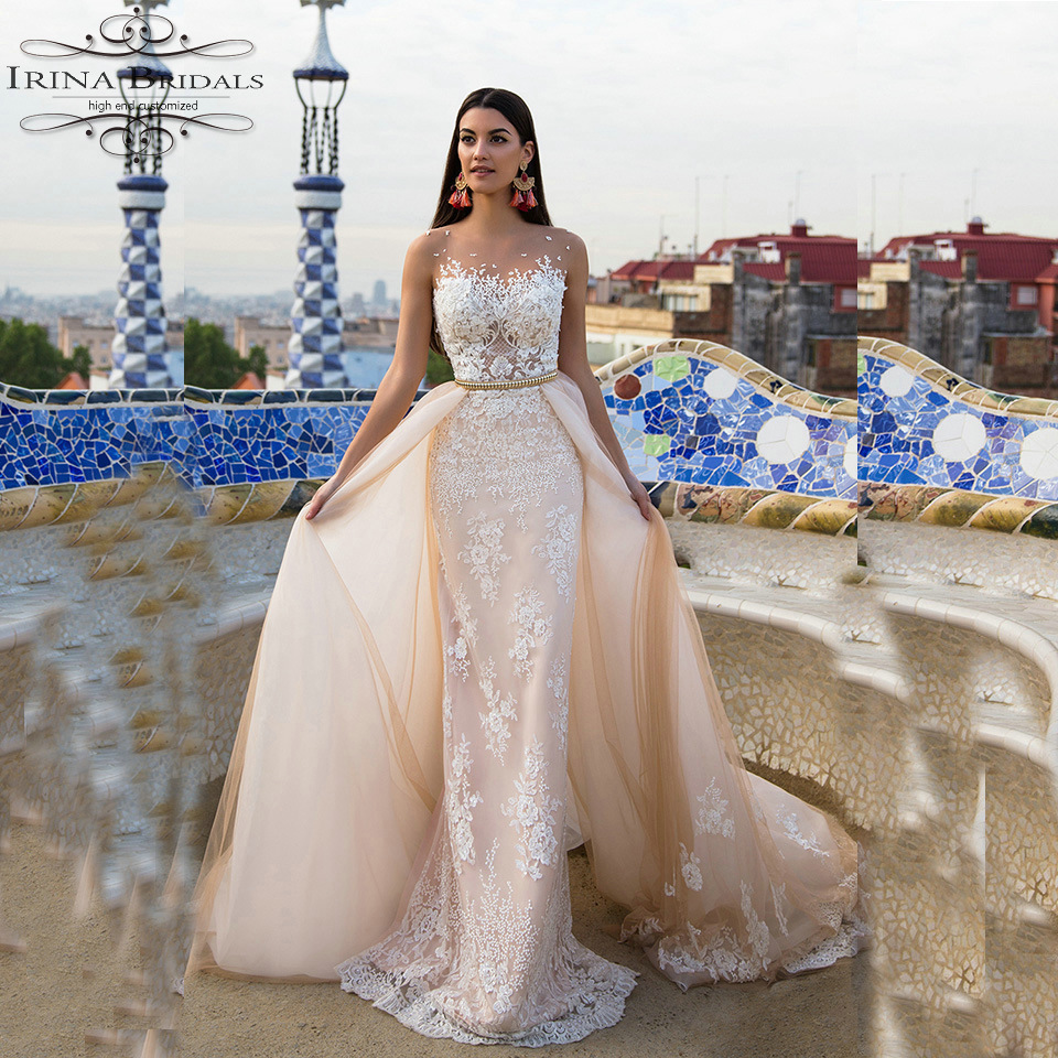 Custom Made Cap Sleeve Lace Appliques Sheath Lace Hippie Gold Wedding Dress With Detachable Skirt