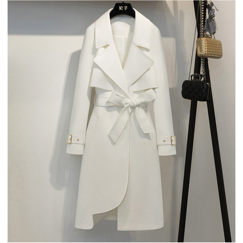 CHEWIES Women Autumn Long Acrylic Coat Classic   Trench   Coat Female Winter New Loose Overcoat Factory Outlet Wholesal 9.2