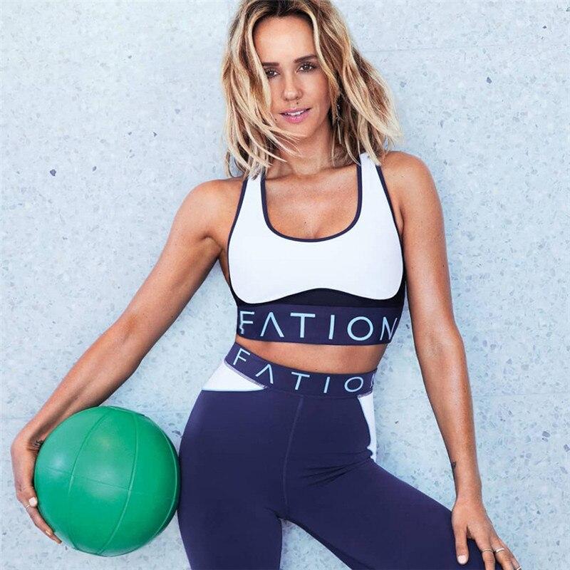 2019 Letter Patchwork Sporting Femme Bodysuit Sexy Tights Fitness Stretch Women Leggings Crop Top Vest Pants Set Suit