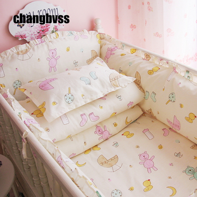 Promotion! New 4-10 Pcs Baby Crib Bedding Set 100% Cotton Curtain Crib Bumper Baby Cot Sets Baby Bed Bumper Sheet Pillow Cover promotion 6pcs cartoon baby bedding set curtain crib bumper baby cot sets baby bed bumper bumper sheet pillow cover