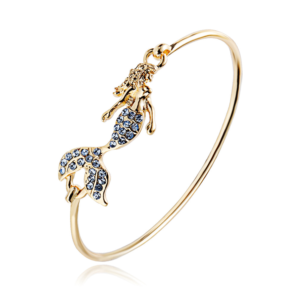 Senfai 2017 Crystal Mermaid Bracelets for Women,Charms Blue Crystal Body and Tail Mermaid Gold color Bangle for Girls Wholesale