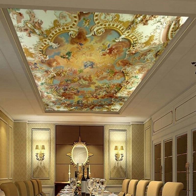 Custom 3D Photo Wallpaper Zenith Ceiling Mural Religion Painting Modern European Hotel Living Room Ceiling Wall Mural Wallpapers