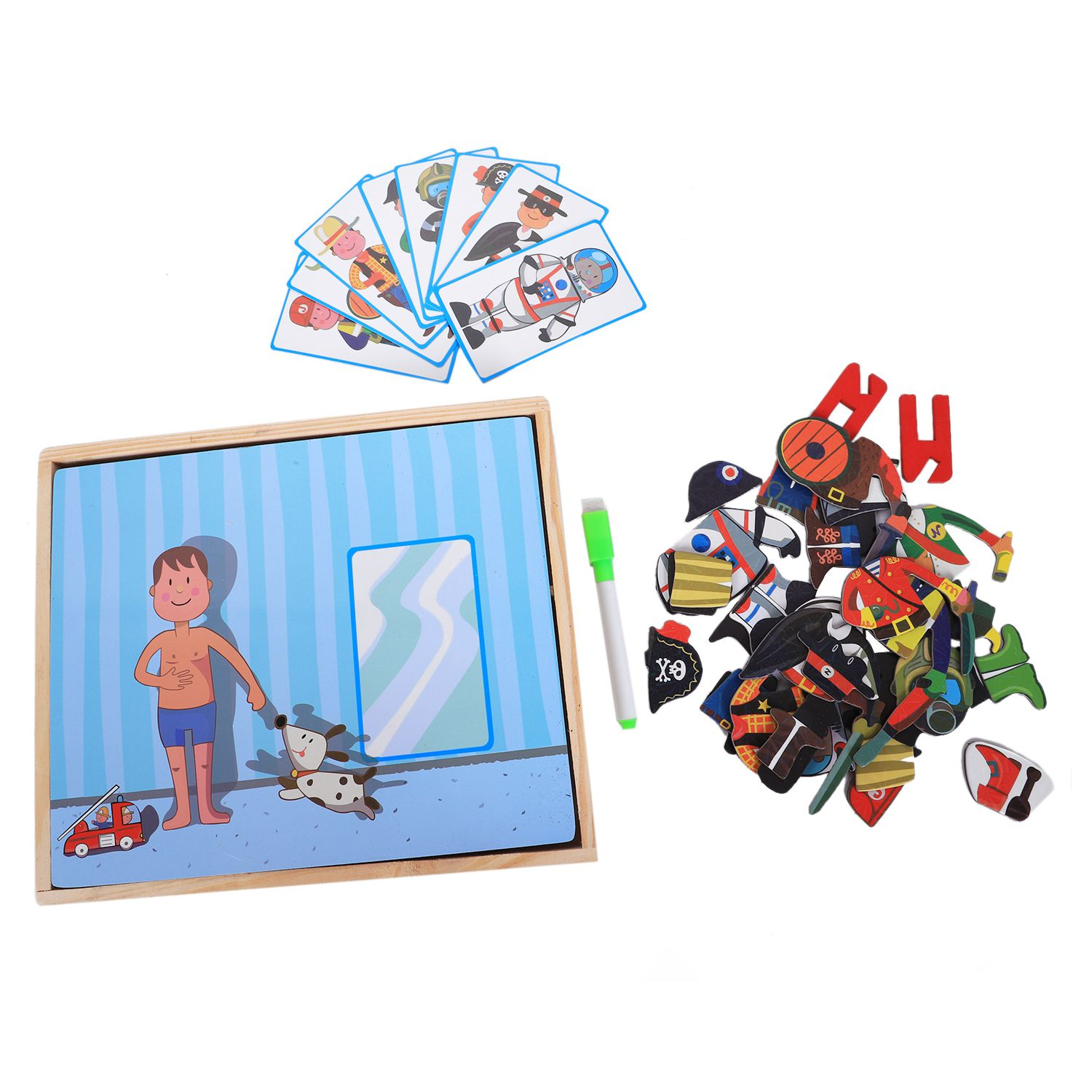 MWZ magnetic fun jigsaw children wooden puzzle board box pieces games cartoon educational drawing baby toys for girls boys, ch