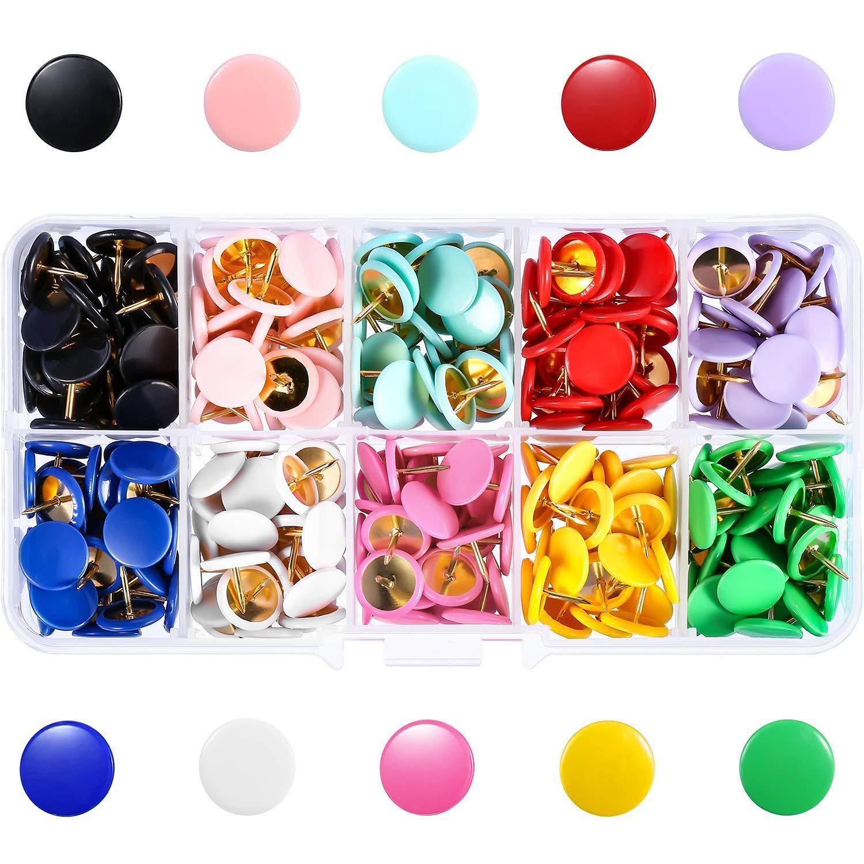 Map Thumb Tacks Office Push Pins Round Plastic Head Drawing Pins For Cork Board Notice Board, 300 Pcs