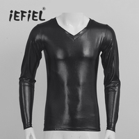 IEFiEL Mens Long Sleeves V Neck Wetlook Faux Leather Soft T Shirt Clubwear Long Tops For