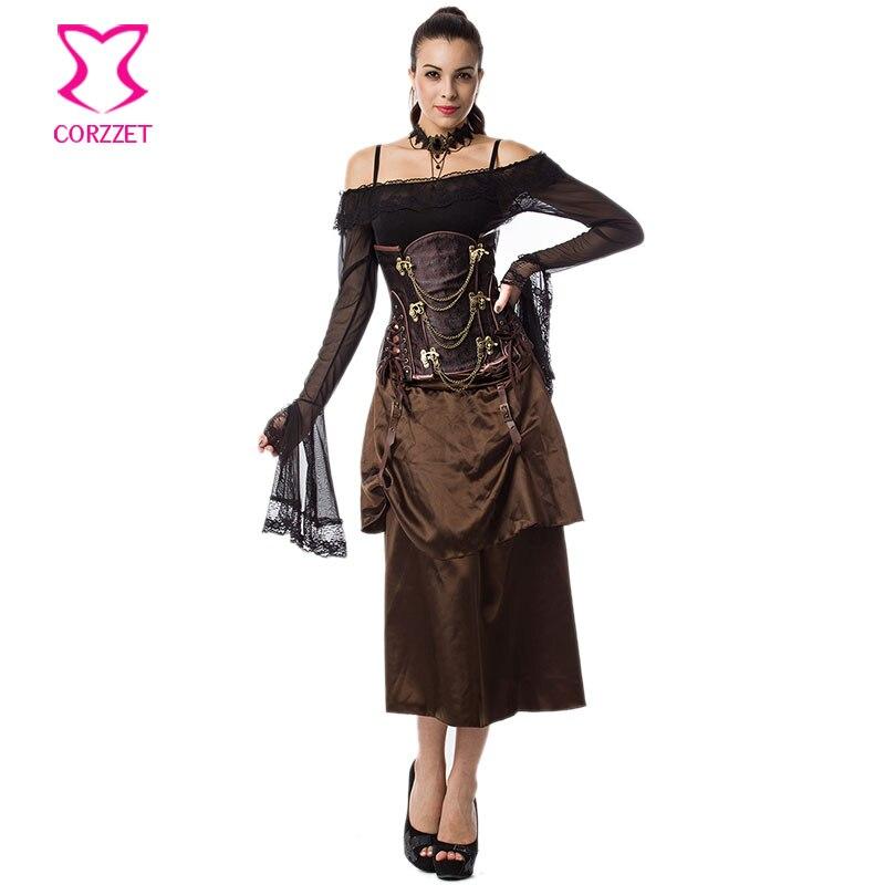 Vintage Brown Layered Satin Gothic Կիսաշրջազգեստ - Կանացի հագուստ - Լուսանկար 5