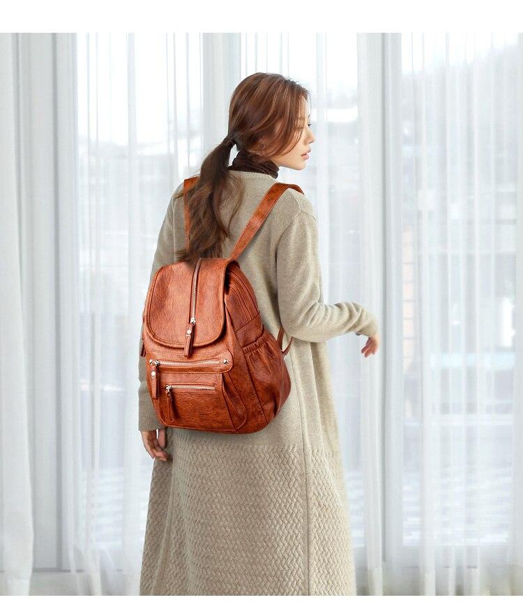 HTB1cErmaIfrK1Rjy1Xdq6yemFXat 2018 Women Backpack high quality Leather  Fashion school Backpacks Female Feminine Casual Large Capacity Vintage Shoulder Bags