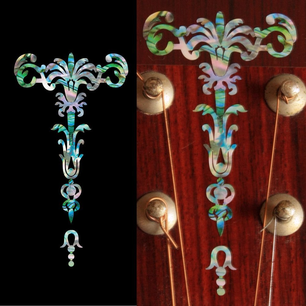 Inlay Sticker Decal Guitar Headstock In Abalone Theme - Gothic Torch, Mixed or White Color inlay sticker decal guitar headstock diamond hatch gold white