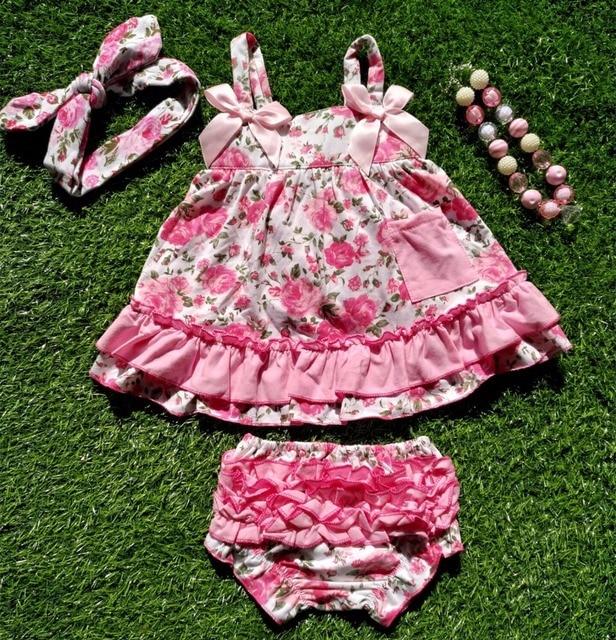 c79d599ebcf0d Bébé fille tenues bébé fille vêtements ensembles bébé fille barboteuses à  volants swing hauts bloomer ensemble