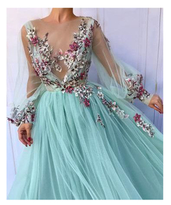 Image 2 - LORIE Long Sleeves Evening Dress Party Gowns Robe De Soiree Formal Prom Dresses Plunging 3D Flowers Beading Top Evening Gowns