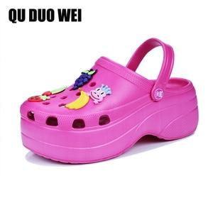 Image 1 - Candy Colors Women Sandals Clogs Mules Eva 2018 Summer Flip Flops Beach Garden Shoes Fashion Slippers Outdoor Chinelo Feminino